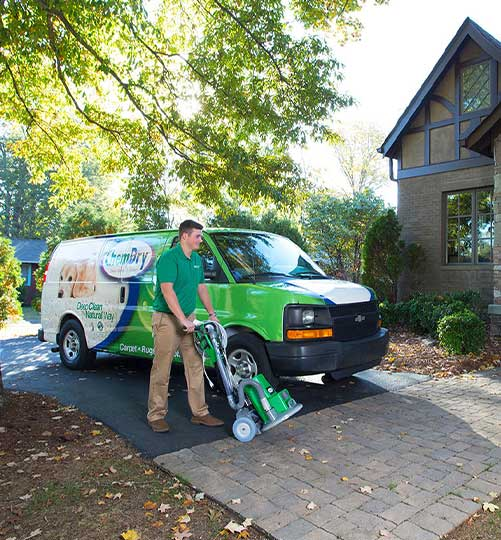 Chem-Dry professional cleaning technician visits a home