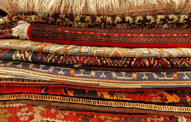 stack of oriental rugs