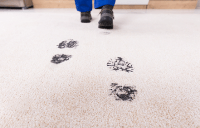 muddy footprints on carpet
