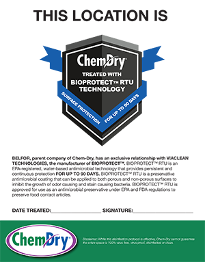 Chem-Dry certificate of treatment with MicroPro Shield disinfection and protection
