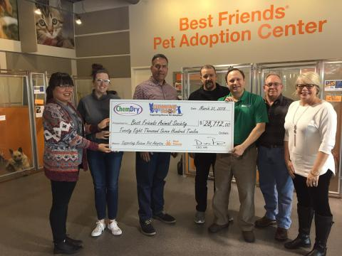 Chem-Dry presents donations from funds raised by Cleaning for the PAWS to BFAS