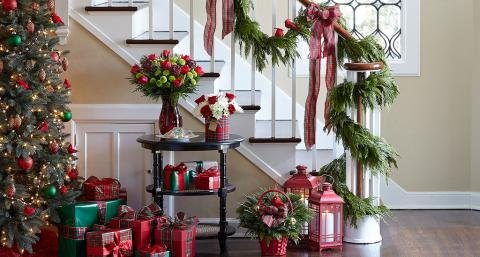 staircase with Christmas decor