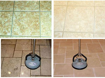 Tile, Grout and Stone cleaning by Chem-Dry before and after comparison