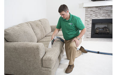 upholstery cleaning being conducted on a sofa